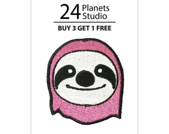 Buy 3 Get 1 Free Pink Sloth Iron on Patch by 24PlanetsStudio
