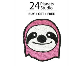 Pink Sloth Iron on Patch by 24PlanetsStudio