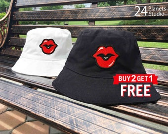 Red Lips Red Kiss Embroidered Bucket Hat by 24PlanetsStudio