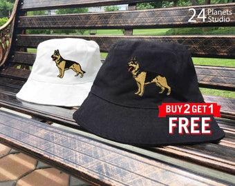 German Shepherd Dog Embroidered Bucket Hat by 24PlanetsStudio