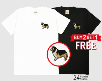 Collie Dog Embroidered T-Shirt by 24PlanetsStudio