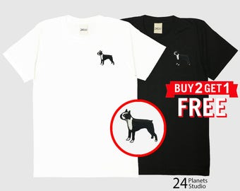 Boston Terrier Dog Embroidered T-Shirt by 24PlanetsStudio