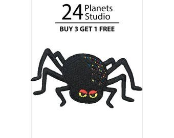 Black Spider Iron on Patch by 24PlanetsStudio