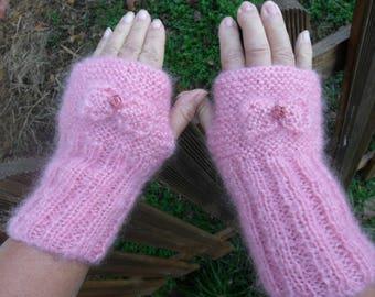 hand knit, wool mohair fingerless gloves