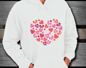 Hoodie I LOVE YOU Hearts & Bows Sweatshirt Anniversary Wedding Birthday Adorable Honeymoon Bridal Shower Present Bachelorette Party Gift