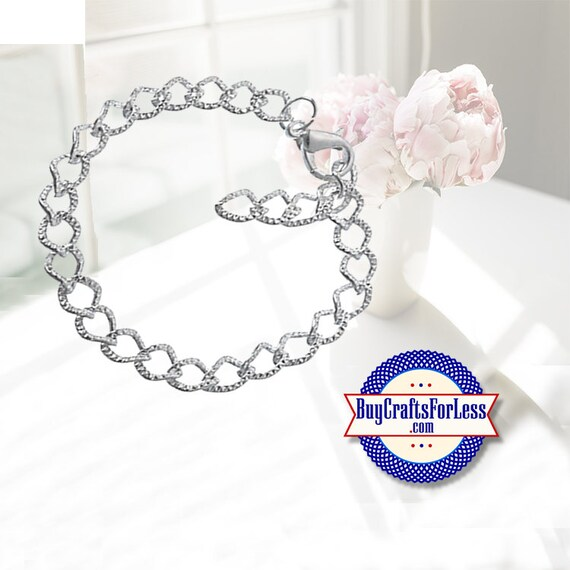 Textured Chain CHARM Bracelet, 10 PCS clip end **20% Off plus FREE Shipping**
