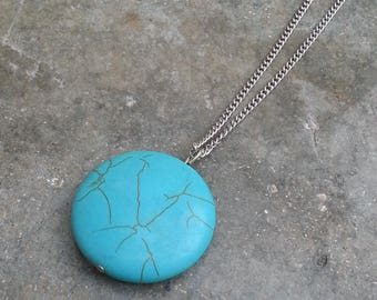 Stone necklace - turquoise circular pendant - turquoise pendant - silver chain - chain pendant stone - bohemian necklace