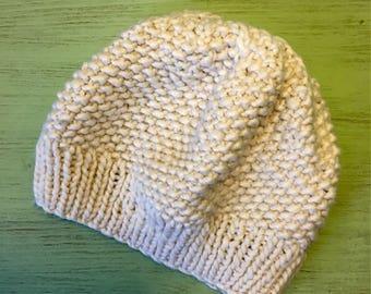 Knitting hat White hat Белая шапка Wool hat Warm hat White beret Winter hat
