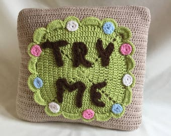 Crochet alice in wonderland biscuit cushion
