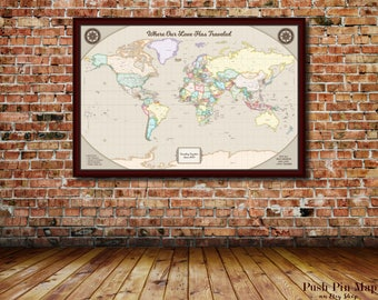 Push Pin World Map, Detailed World Push Pin Map, 24x36 or 30x40 Mounted Map, 100 Push Pins, Color Scheme Options