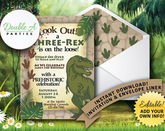 Three Rex Birthday Party Invitation - Boy Birthday Party Invite, Dinosaur Birthday Invite, Third Birthday Invite, Self-Editable Invitation
