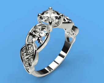 0.8 cts Moissanite Engagement Ring with 10 Natural Diamond Accent Stones 14K White Gold  Ring