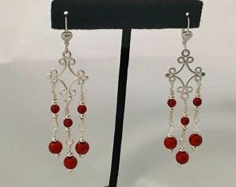 Chandelier earrings, red and silver chandelier earrings, long earrings, bright red earrings, dangle earrings, liver back earrings