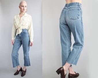 "Vtg 90s High Waisted Cropped Jeans w/ Raw Frayed Hem 25.5"" Waist sz XS/S"