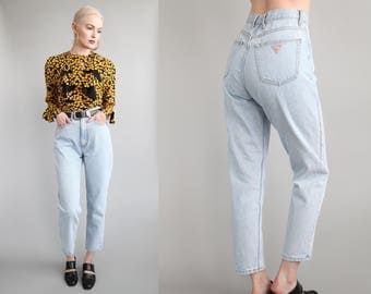 "Vtg 90s GUESS High Waisted Light Denim Jeans 27"" Waist sz S/M"
