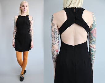 Vtg 90s Open Back Mini Dress sz XS/S