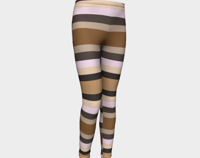Girls Leggings, Chocolate Stripes Leggings, Girls Yoga Leggings, Leggings, Girls Clothes, Dance Leggings, Girls Yoga Pants, Gift for Girl
