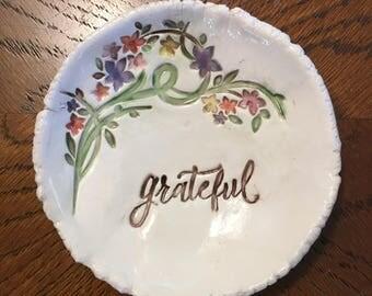 Grateful, Inspirational, Floral, Wedding Party, Bridesmaid Gift, Ring  Dish