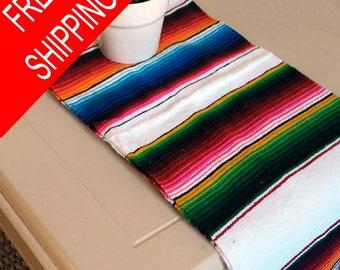 "60"" white serape table runner Mexican woven,table runner,ethnic,native,artisan,throw,multi color,fiesta,5 de mayo,big,tassel,Mexican decor"
