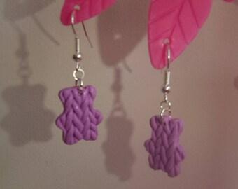 pair of earrings in polymer clay light pink Teddy bear shape