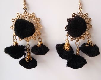 Jewellery, Earrings, Drop Earrings, Pom Pom Earrings, Handmade Earrings, Pom Pom Drop Earrings, Dangle Earrings, Black Color Pom Pom Earring