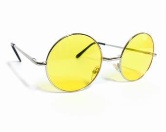 Classic Yellow Lens John Lennon Circluar Tinted Round Frame Circle Sunglasses
