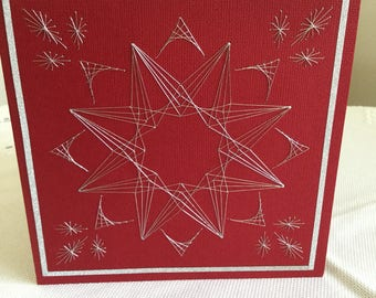 Handmade Embroidered Greeting Card (Star 3)