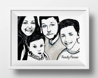 Unframed - Custom Portrait - 3 or more people - Hand drawn from photo, Hand Drawn Portraits, Custom Pen Drawing,Drawing with Pen,Pen Drawing