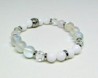 Bracelet - Swarovski Crystal - stainless steel - white - MOONLILGHT