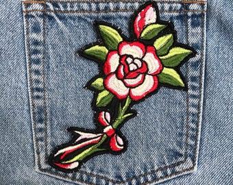 Premium iron on embroidery vintage roses