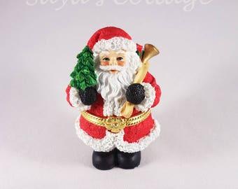 Vintage Cute Santa Claus Trinket Box By Papel Giftware Cute Christmas Santa Keepsake Box Ring Box with Small Tree and Bag  Holiday Gift