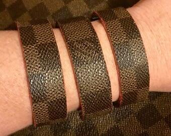 Damier Ebene hand covered cuff bracelets