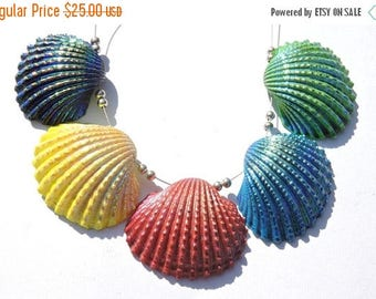 On Sale 5 Pcs Very Beautiful Natural Multi Color Titanium Coated Shells Coated Sea Shells Beads Size 27X31 - 30X33 MM