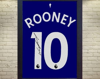 new 2017 18 Wayne Rooney Everton signed printed on canvas 100% COTTON  t shirt #10 Framed