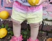 Pink Lemonade distressed denim shorties/toddler distressed denim/ripped jeans pink and yellow baby shorts/lemonade outfit