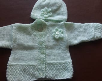 """Pale green cardigan and hat, to fit 16"""" chest"""