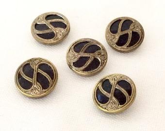 5 Victorian Buttons ~ Black Glass and Brass ~ Rare Buttons ~ Brass Buttons ~ Downton Abbey Dress ~ Edwardian Dress ~ Art & Collectibles