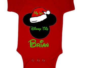 My First Disney Trip Onesie, Christmas Mickey Mouse, Personalized First Disney Onesie, Christmas Baby Onesie, Disney Onesie,  Christmas
