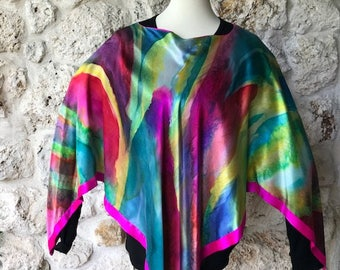 """One of a kind silk satin handpainted poncho""""Burst of Color"""""""