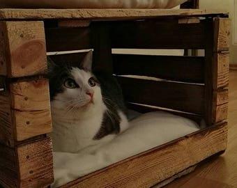 Bed, basket, cat bed, Cat's den, cat box, wooden box, chest, cat basket, cat crate, pet bed, cat basket, dog basket