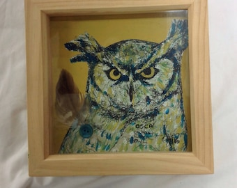 Osca the Owl mixed media drawing in box frame