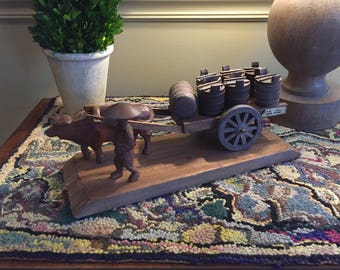 Unique 1950s carved wooden oxcart,Okinawa