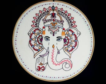 Ganesha, elephant wall decal, elephant gifts, spiritual wall art, bohemian homewares, boho home decor, embroidered boho, spiritual gifts,