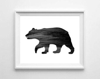Bear art print, black bear decor,bear, animals print, black bear print, kids room decor,printable nursery decor, nursery print, digital file