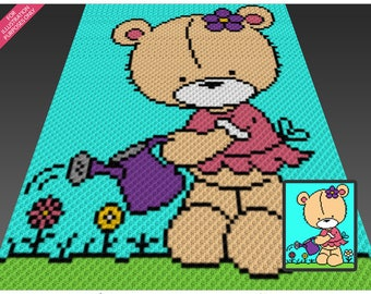 Little Miss Bear crochet blanket pattern; c2c, cross stitch; graph; pdf download; no written counts or row-by-row instructions