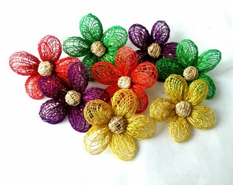 Handmade Sunflower Artificial Flowers Made of Abaca Craft Supplies 2 inch - Various Colours (505379)