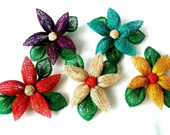 Handmade Artificial Flowers Made of Abaca Craft Supplies 3.5 inch - Various Colours
