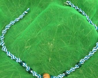 Blue and White Spiral Braided Hemp Necklace