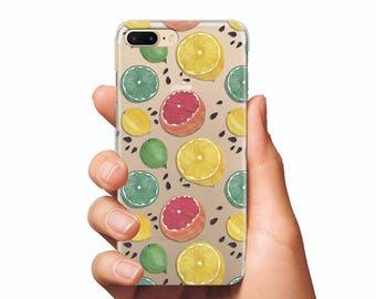 Citrus case clear phone case iPhone 7 Case lemon case iPhone 6 Plus case Silicone case phone iPhone 5s case kiwi clear case iPhone 7 Plus