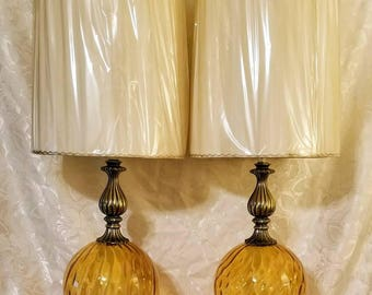 Vintage Hollywood Regency Style Yellow/Amber Optic Glass Table Lamps